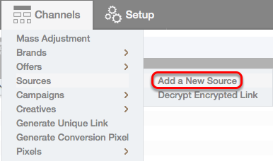 How to add a Source from the Channels drop-down