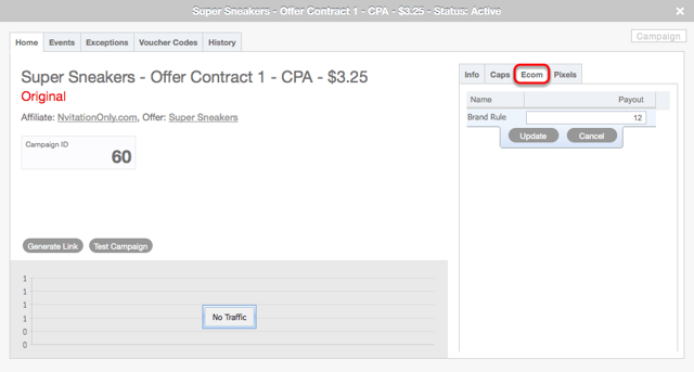 Campaign - Affiliate ecommerce Payout Rules