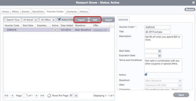 Adding, Importing and Associating Voucher Codes