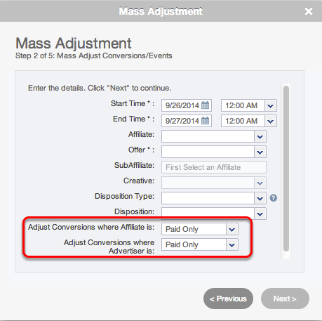 Wizard: Step 2 - Adjustment Selections