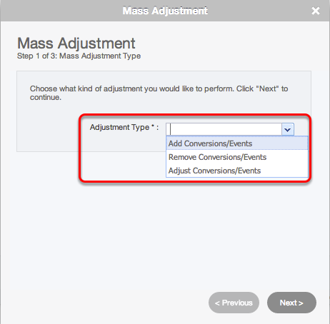 Wizard: Step 1 - Select Adjustment Type