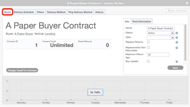 Buyer Contract card > Home tab