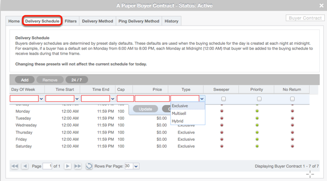 Buyer Contract card > Delivery Schedule tab