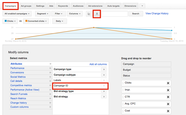 Exporting Google AdWords Campaign ID