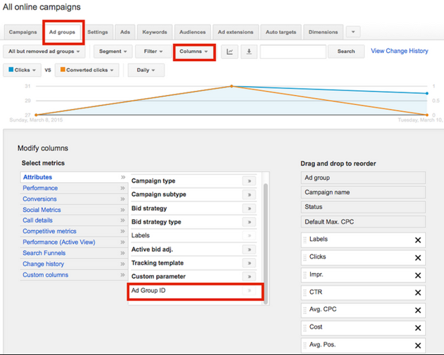 Exporting Google AdWords Ad Group ID