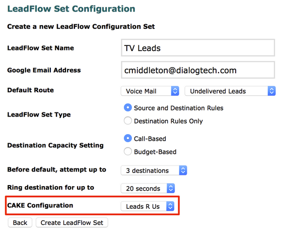 Step 2:  Enable the Integration for a LeadFlow Set