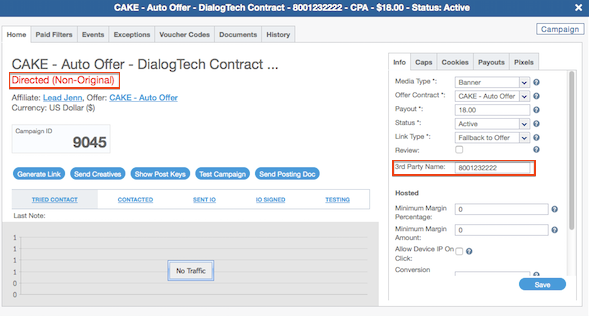 Enter DialogTech Source Phone Number as 3rd Party Name
