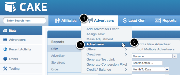 Manually Adding An Advertiser