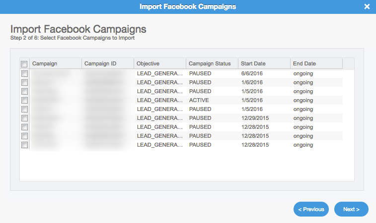 Facebook Lead Ads Campaign Importer: Step 2