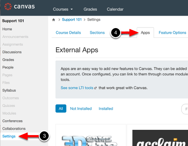 Step 2: Access Canvas' App Store