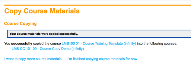 Course Materials Were Copied Successfully