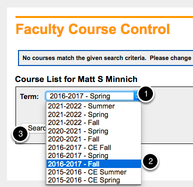 Faculty Course Control | View Details | Choose Term