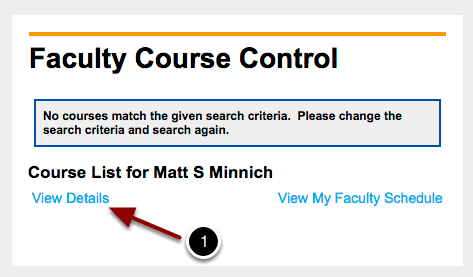 Faculty Course Control   Options