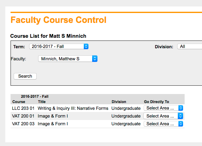 Faculty Course Control | View Details | Search Results