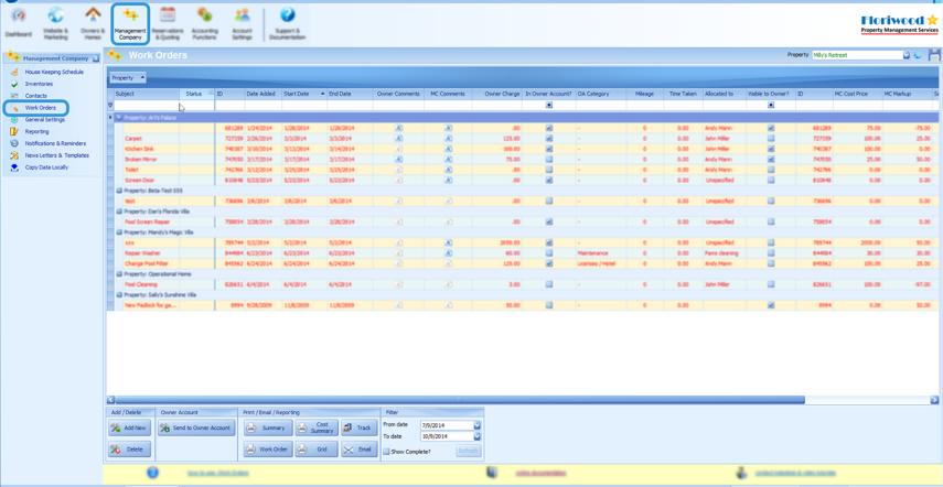 Work Orders Screen