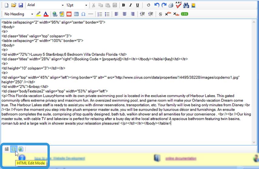 HTML Edit Mode