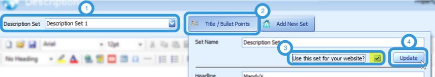 Setting the Description Set on Your Website