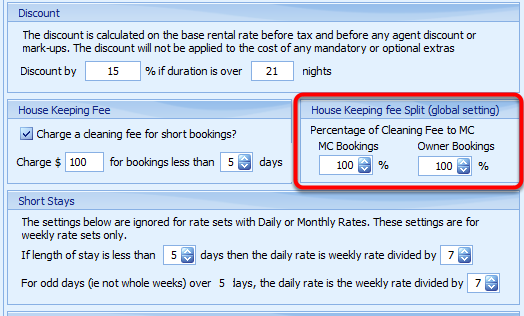 House Keeping Fee Split (Global Setting)