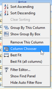 "2.) Select ""Column Chooser"" from list of table options."