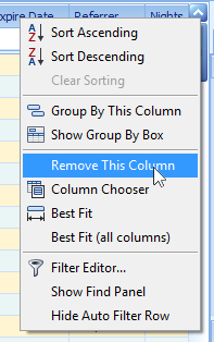 "2.) Move the courser down and select ""Remove This Column""."