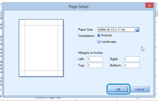 Page setup.