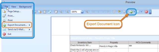 Saving / exporting the report.