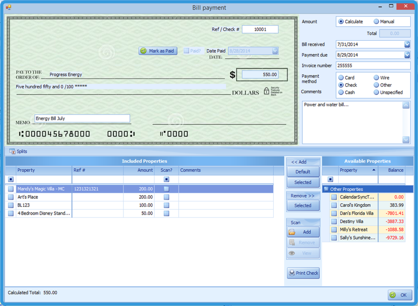 Bill Payment Summary Window
