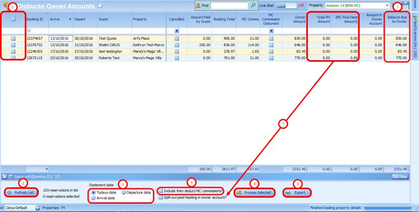 Disburse Owner Amounts Screen