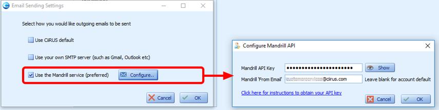 Mandrill API key