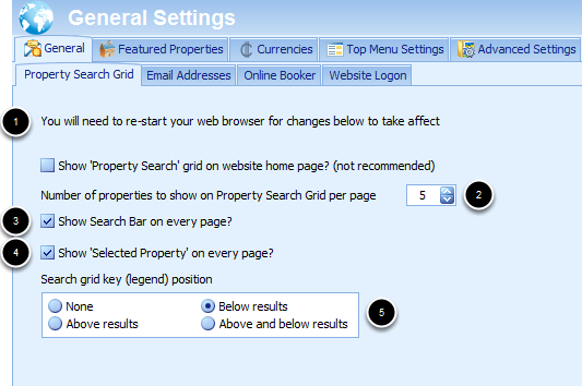 Property Search Grid Settings