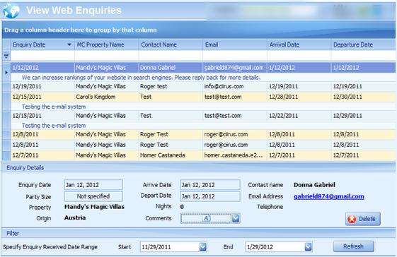 View Web Inquiries Screen