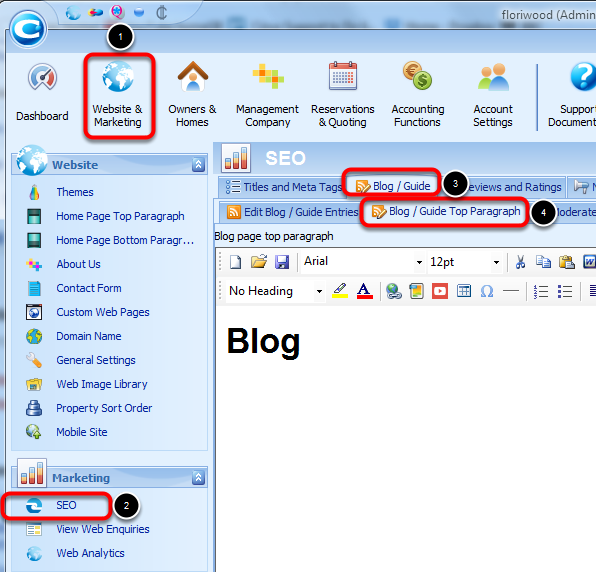 Setting the Blog description and title