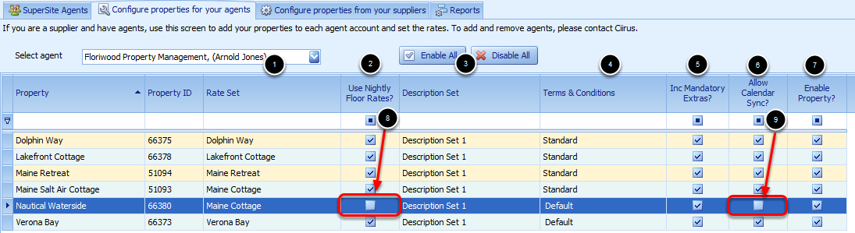 Configure Properties to your Agents Table
