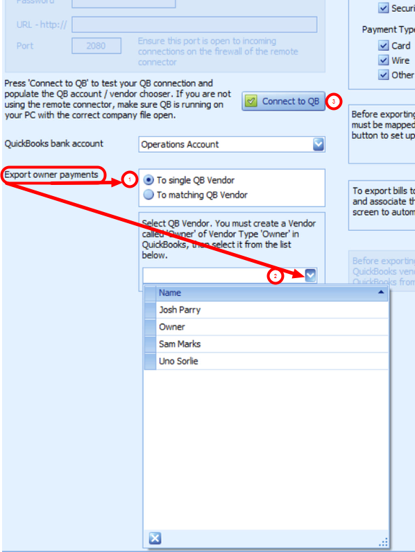 Configuring Contacts as Vendors: Export owner payments (To a Single QuickBooks Vendor)