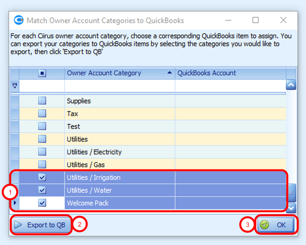 Create QuickBooks accounts for Individual categories