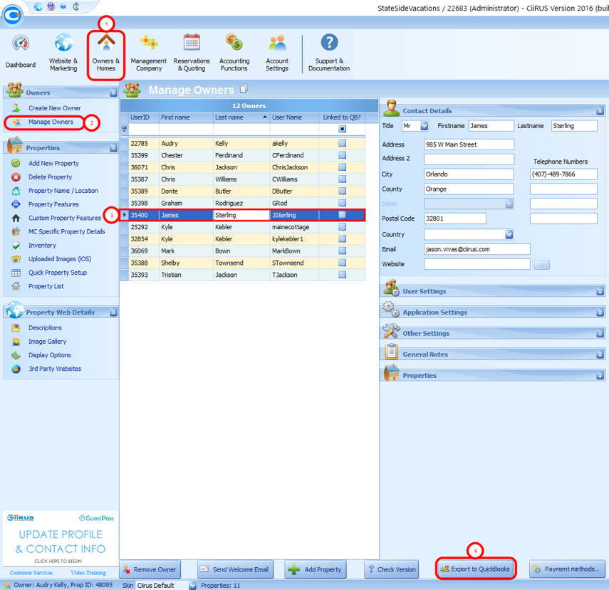 Configuring Contacts as Vendors: Export owner payments (To matching QuickBooks vendor)