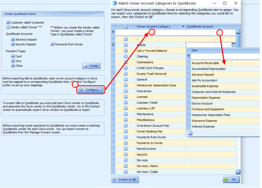 Mapping Owner Account Categories to QuickBooks Chart of Accounts
