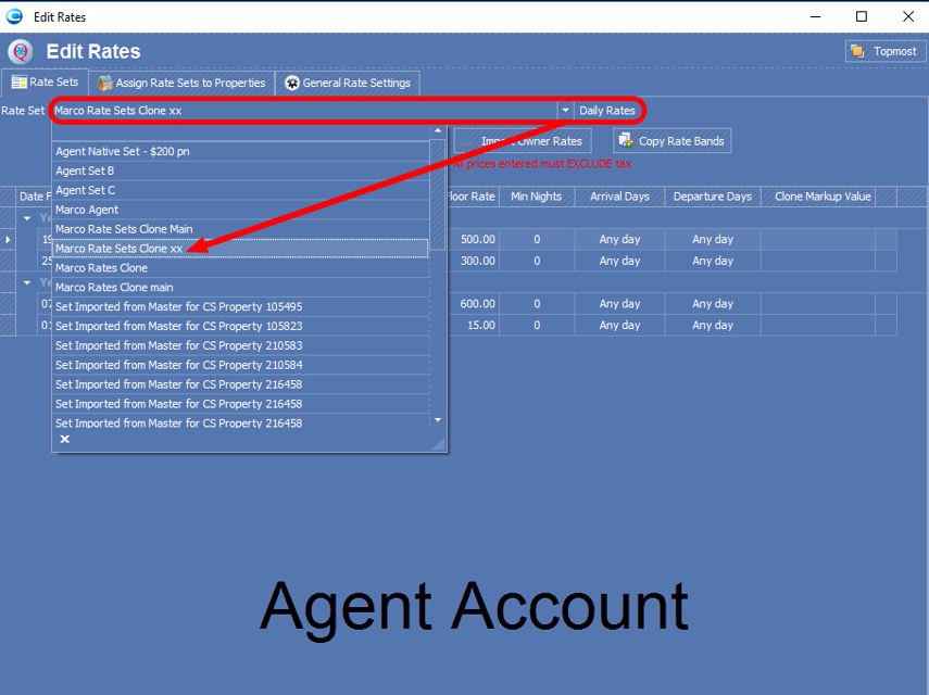 Select Rate Set in Agent Account