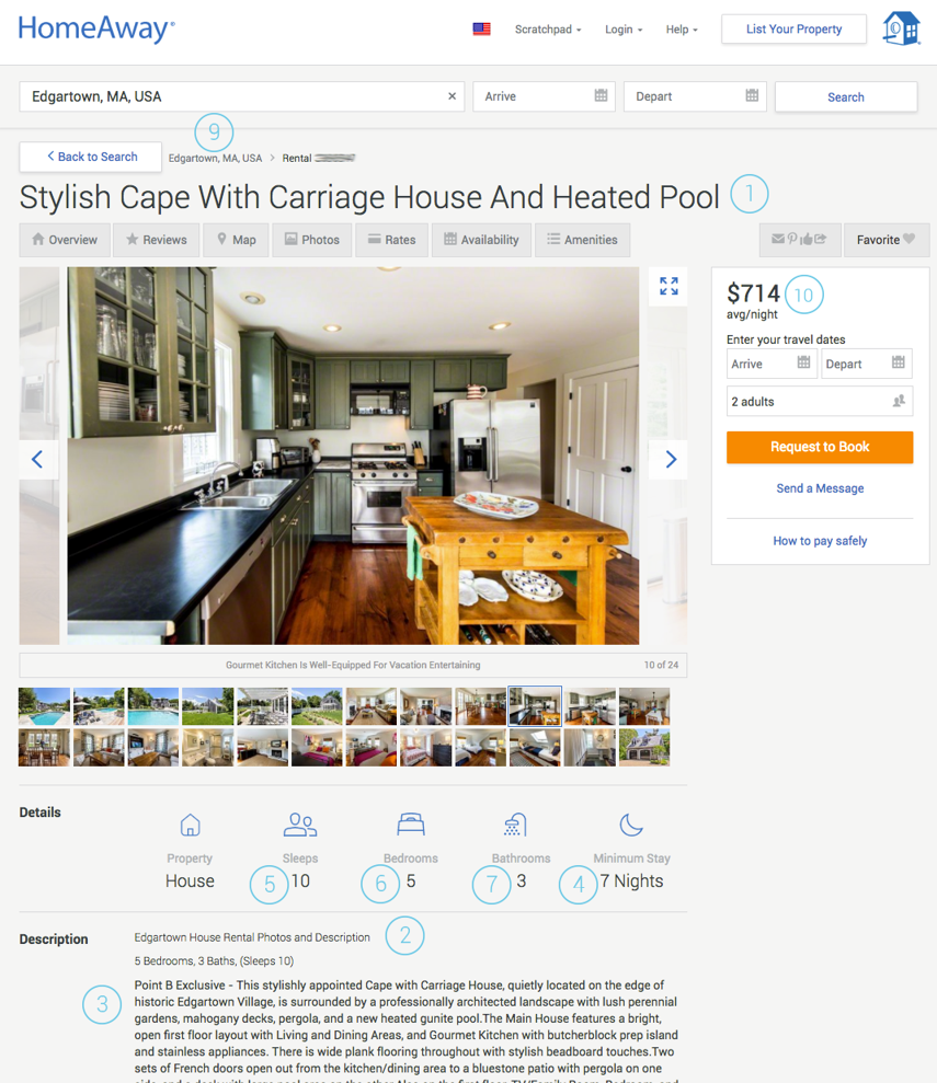 How it will display on the HomeAway Website