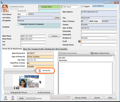 Add a scanned copy of the new customer's ID.