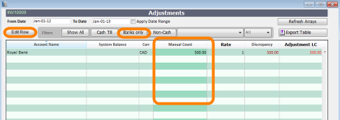 Adjusting Bank Manual Count