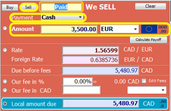 Pay the amount and currency the client wishes to buy
