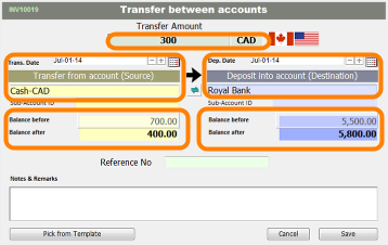 Input account transfer information