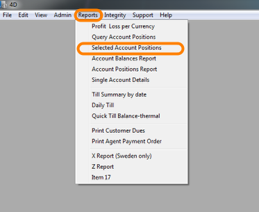 Selected Account Positions