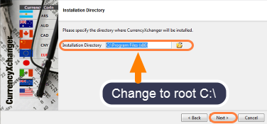 The default installation location must be changed!