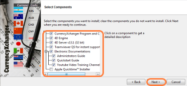 Select the components to install