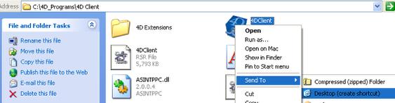 Create a desktop Shortcut of 4D Client