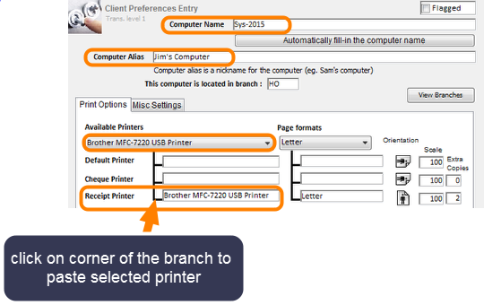 Pick a Branch and a Printer