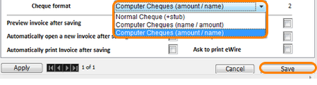 Select Cheque format