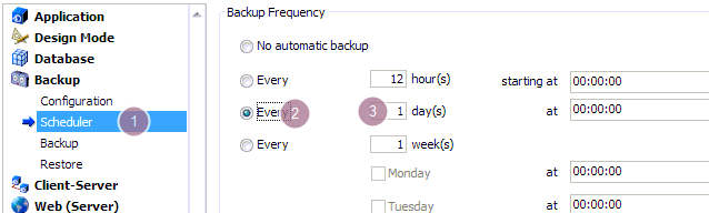 Scheduling the backup